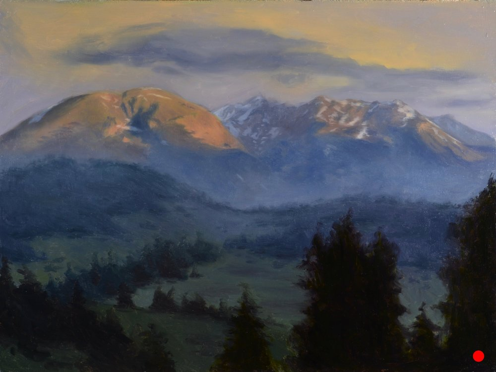 """Buffalo Mountain Sunrise"", 12x16, oil on panel"