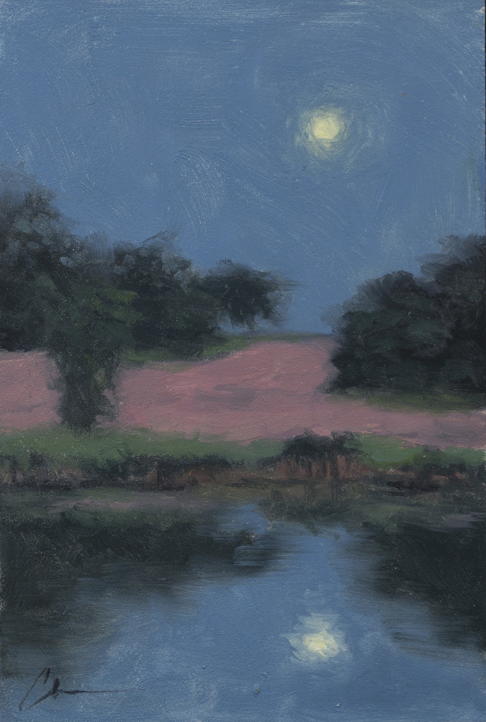 """Color Study: Hayfield Nocturne"", 6x9, oil on panel"