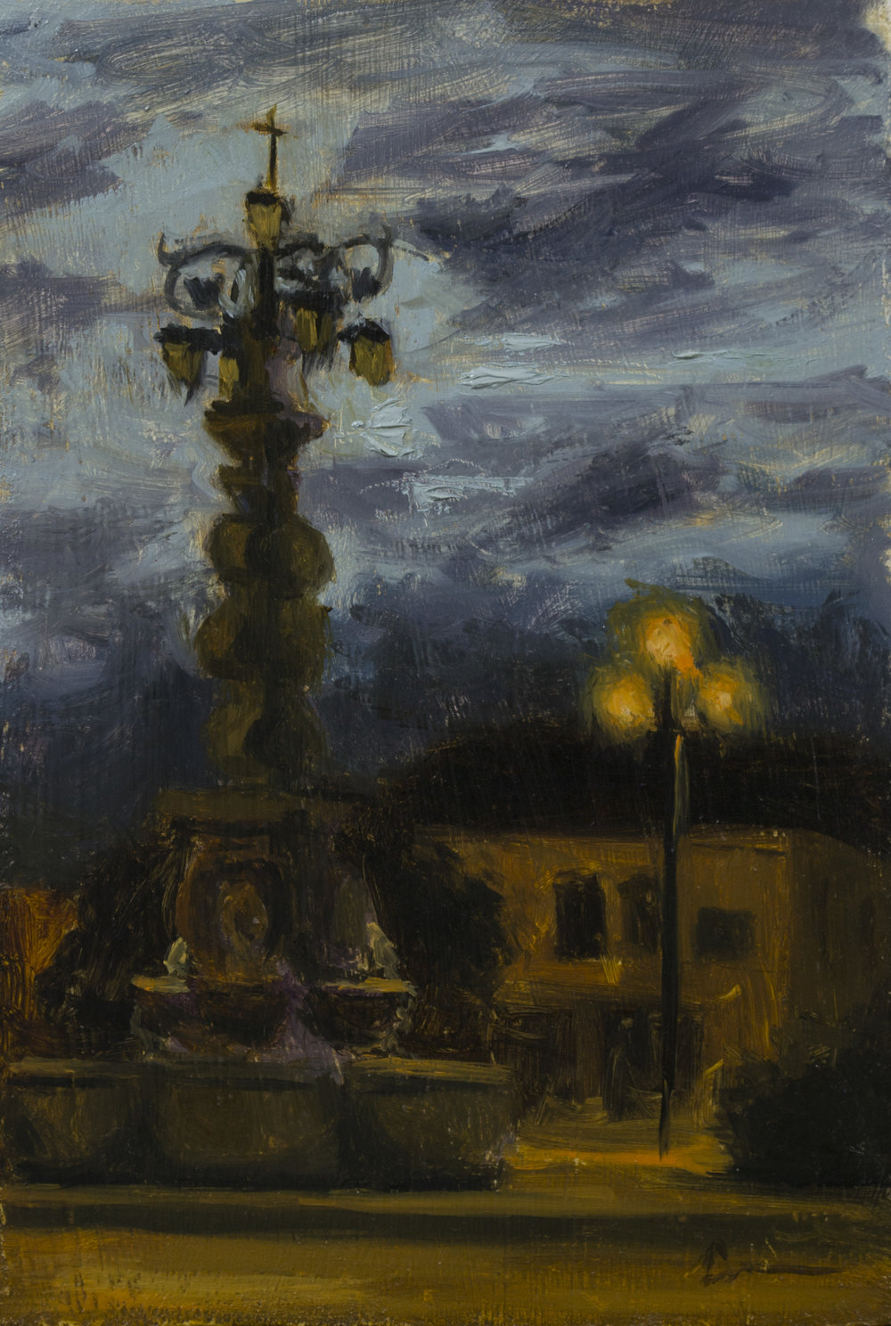 """Color Study: Plaza Twilight"", 6-1/4 x 10, oil on panel"