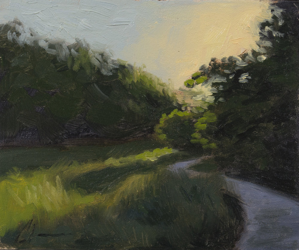 """Color Study: Round the Bend"", 5x6, oil on panel"