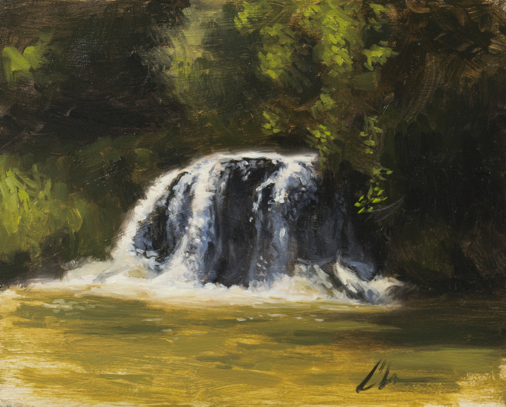 """Color Study: Falls on the River"", 6-1/2x8, oil on panel"