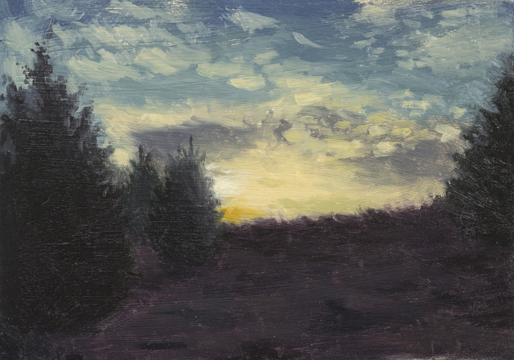 """Color Study: March Sunset"", 5x7, oil on panel;  please direct inquiries to  Regency Parkway Art"