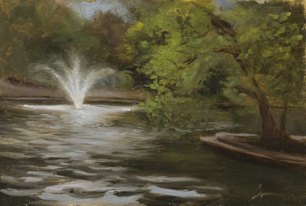 """Color Study: Loose Park Fountain"", 6-3/4x10, oil on panel"
