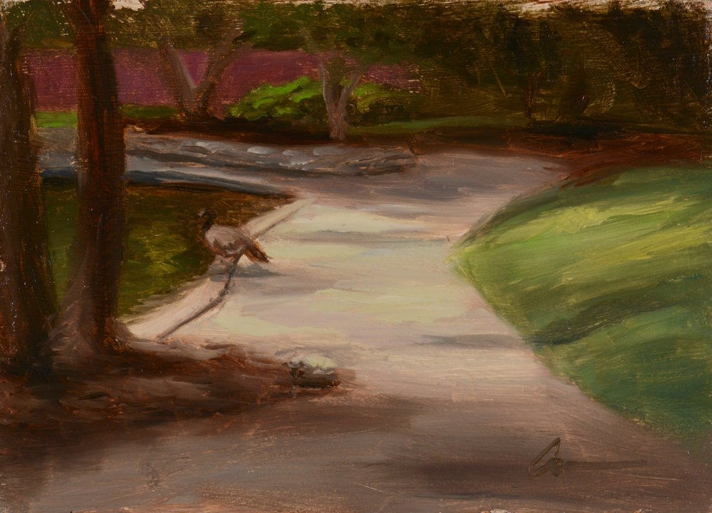 """Color Study: Stroll in the Park"", 5x7, oil on panel"