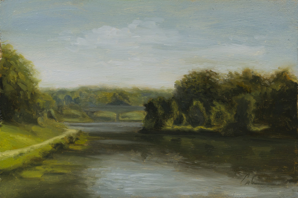 """Color Study: Breakfast on Brush Creek"", 6x10, oil on panel; please direct inquiries to  Regency Parkway Art"
