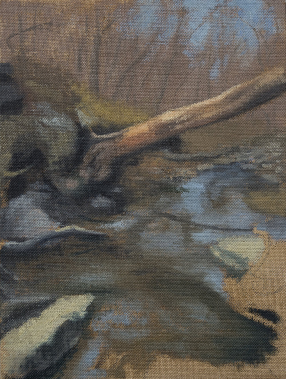 """Color Study: February Creek"", 9x12, oil on panel"
