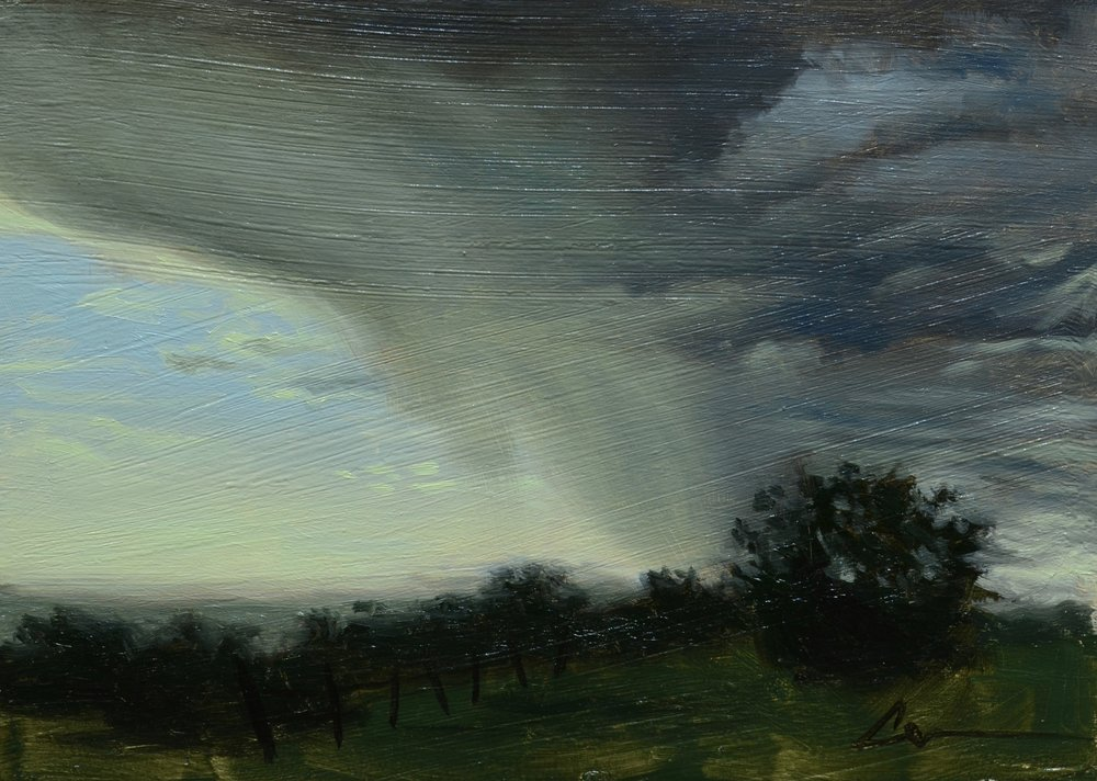 """Color Study: Incoming Storm"", 5x7, oil on panel; please direct inquiries to  Regency Parkway Art"