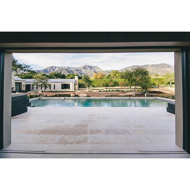 Pool house view #customhomes #design #pool #montecito #craftmanship #construction