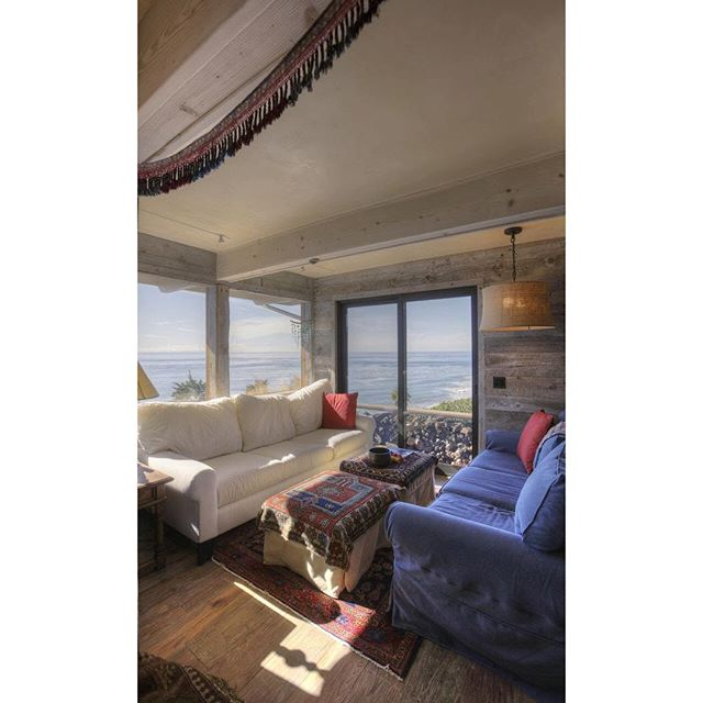 Sitting room with a view. #beachhouse #summertime #summer #santabarbara #pacific #shiplap #view #naturallight #beachbungalow