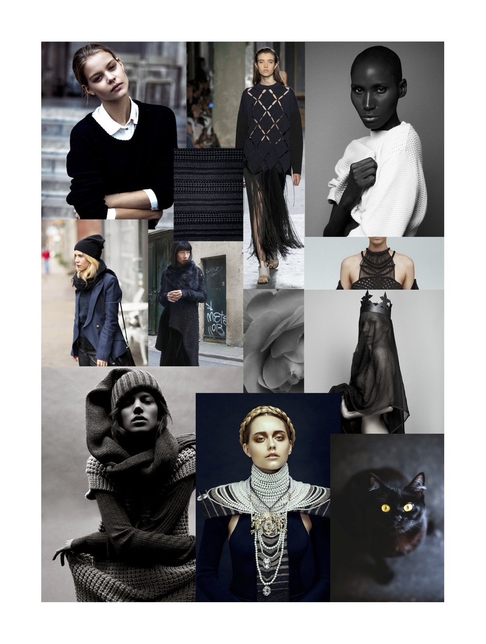 Our 'Dark Shadows' knitspiration board featuring tones of black. All images from Pinterest and Tumblr.