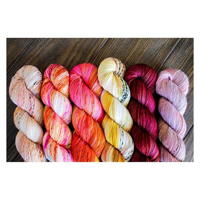 Rounding out our #hedgehogfibres palette for June's club: Monarch, Genie, Villain, Fool's Gold, Pheasant, and Granny. #yarn #yarnporn #knitting #crochet