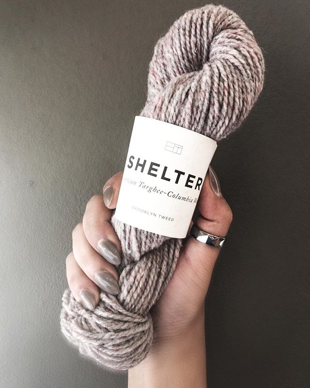When your manicure matches your wall and your latest project yarn, you've officially found your new fave color.  Yarn: @brooklyntweed Shelter in Postcard  Wall: Opus  Polish: Sweater Weather 💅🏼🐑 #greigefordays #tintedneutrals #nailsonfleek #yarn #knitting #wool