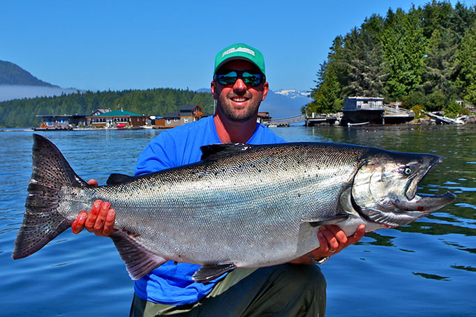 Tofino Fishing Captain Josh Temple with a massive Salmon!