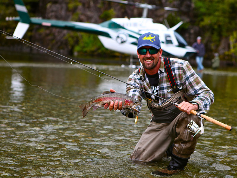 Helicopter river fly fishing charters from Tofino on Vancouver Island.