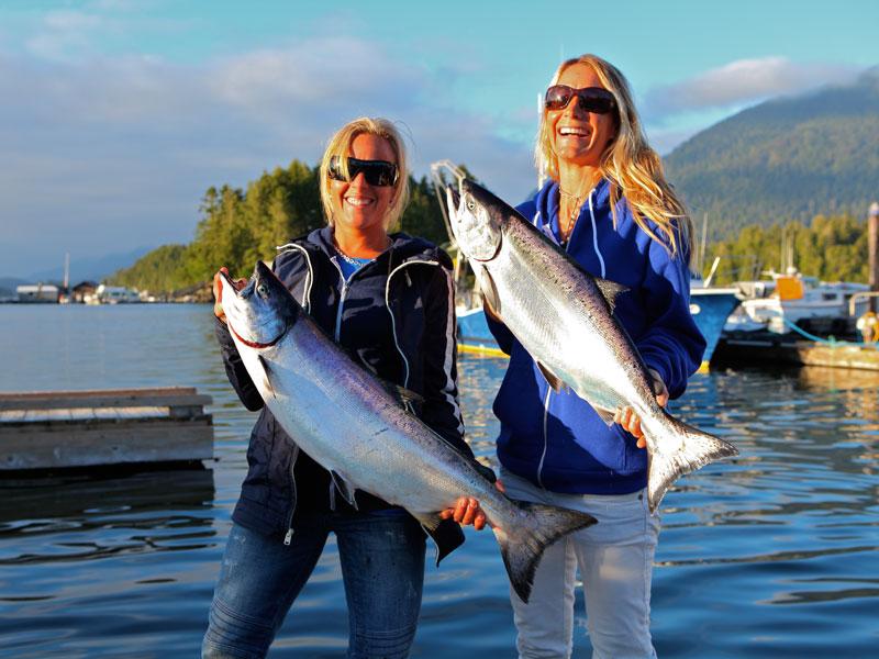 Two massive salmons caught off the Tofino coast.