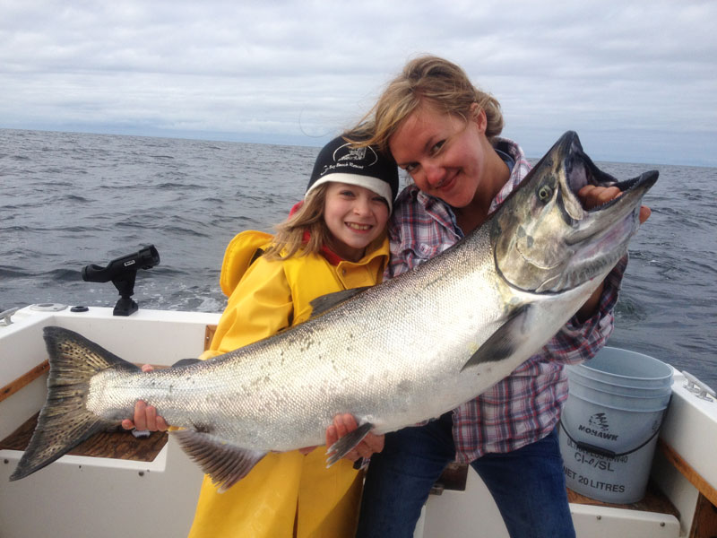 A big salmon caught by mother and daughter off Tofino coast.