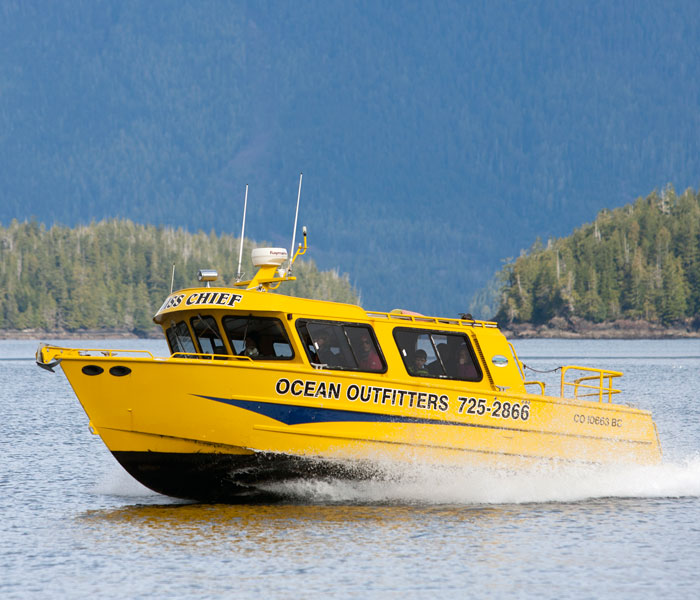 Miss Chief – One of our covered whale watching boats.