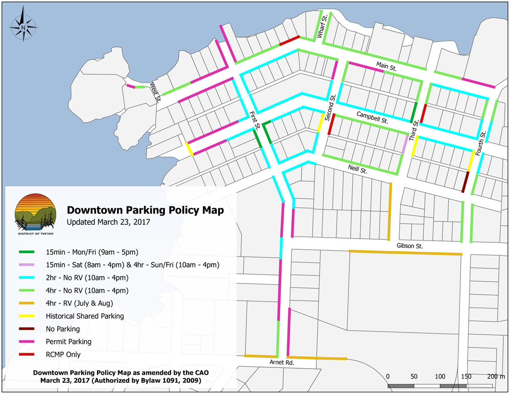 Tofino Downtown Parking Map - Updated March 2017