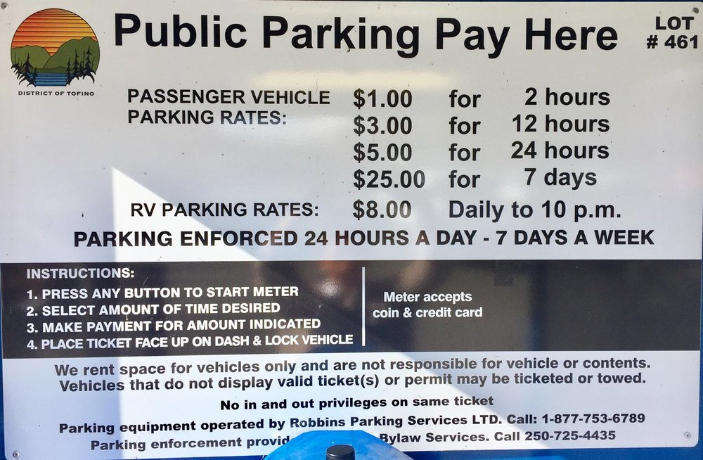 Paid parking rates tofino lot