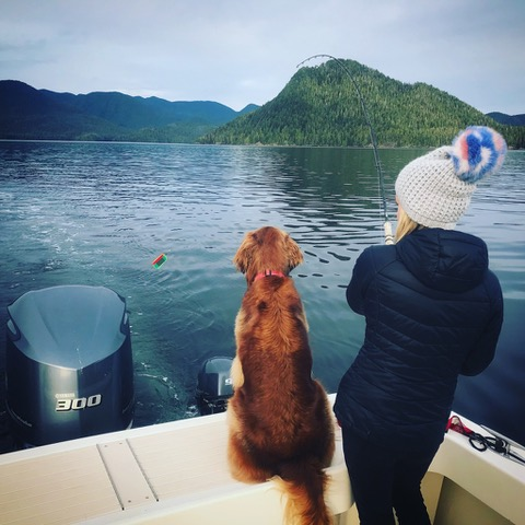Jenny Mustard and her mom fishing in Tofino