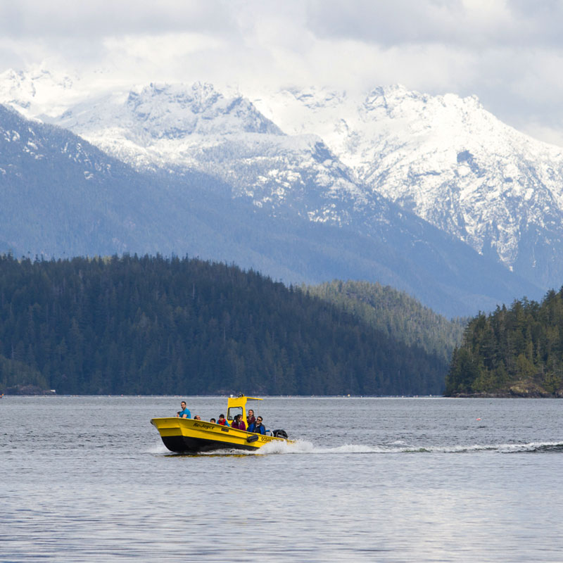 Our Meares Island Water Taxi making a trip with guests