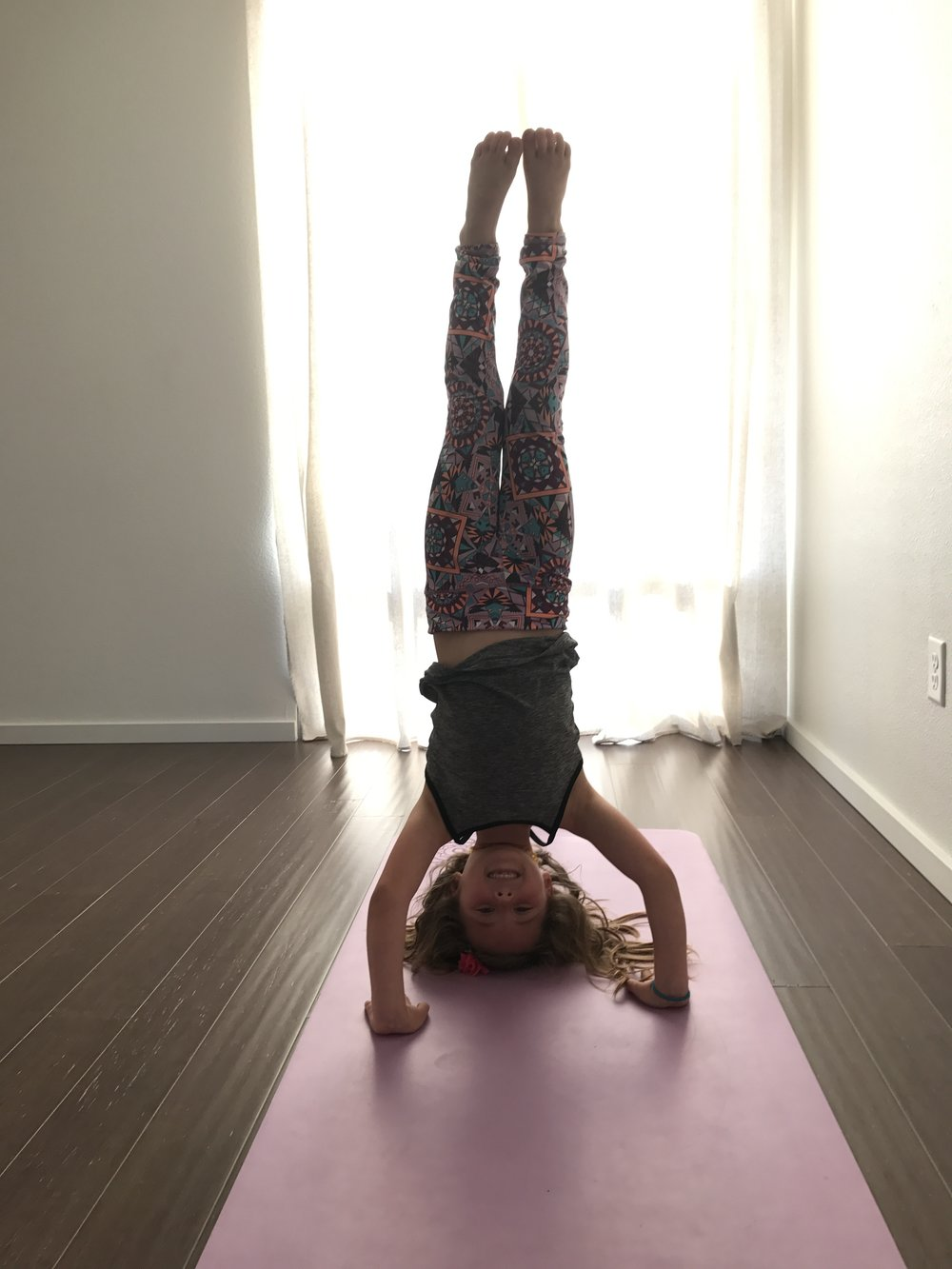 Selah in headstand