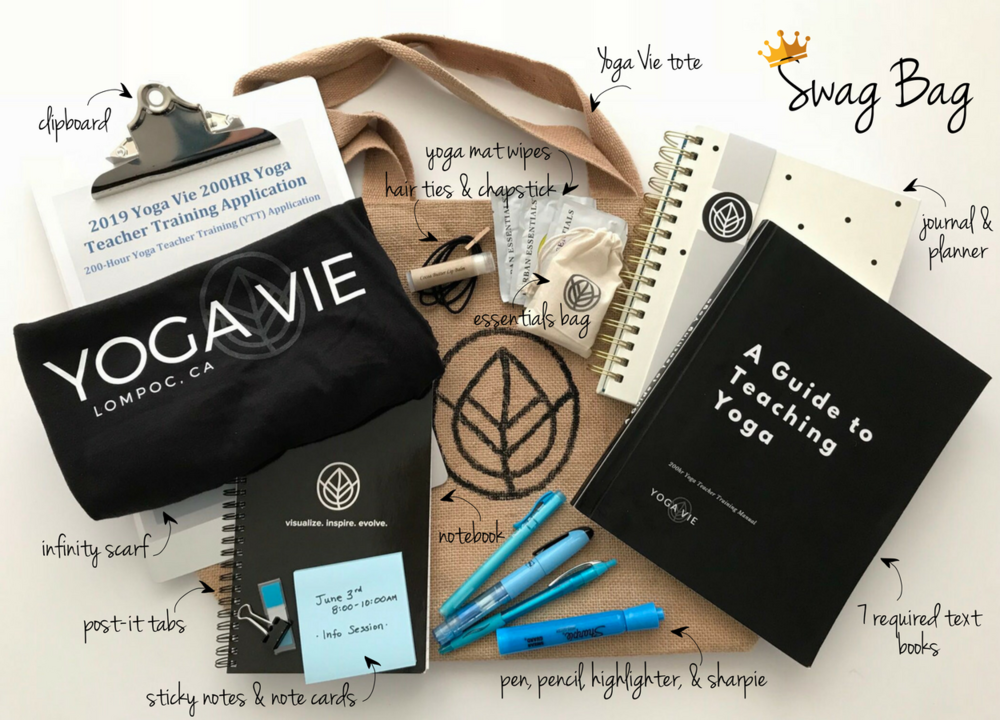 *Each swag bag will be customized and may have slight variations (with the exception of text books). Swag bags are for first time YTT students.
