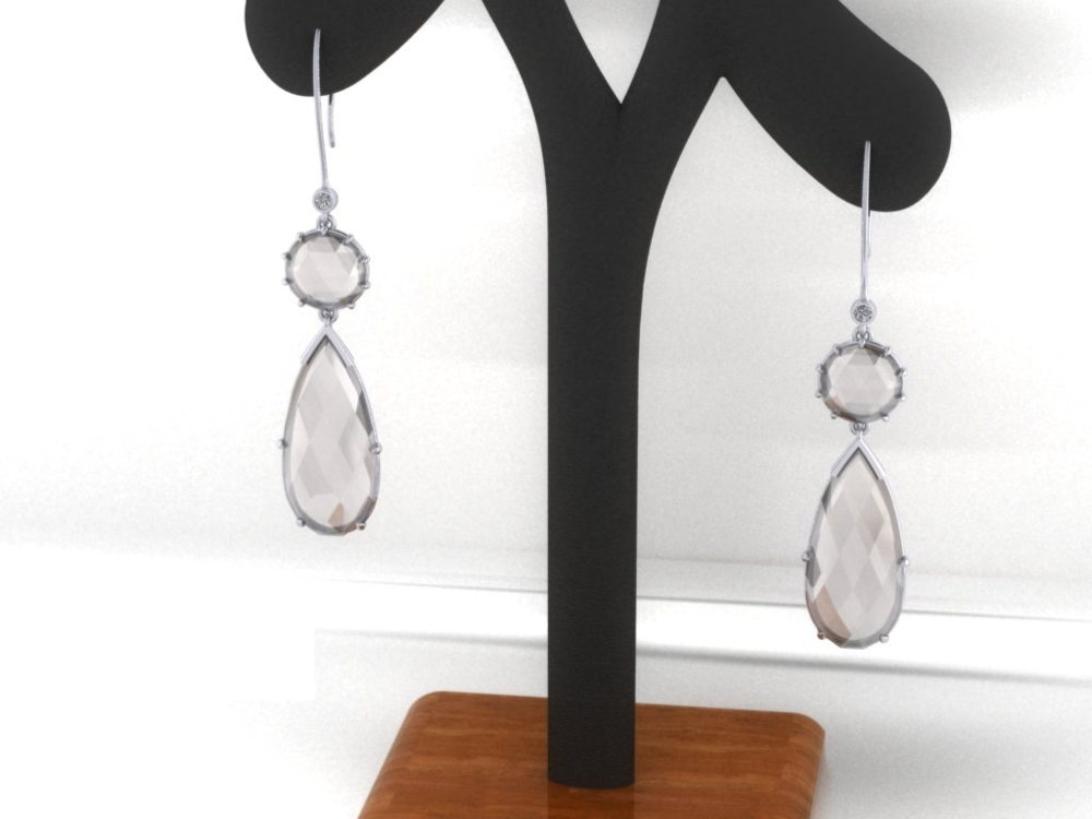 Rockin' Quartz and Diamond Earrings