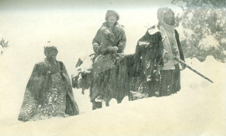 Marguerite Harrison with Bakhtiari Men in snow during filming of  Grass