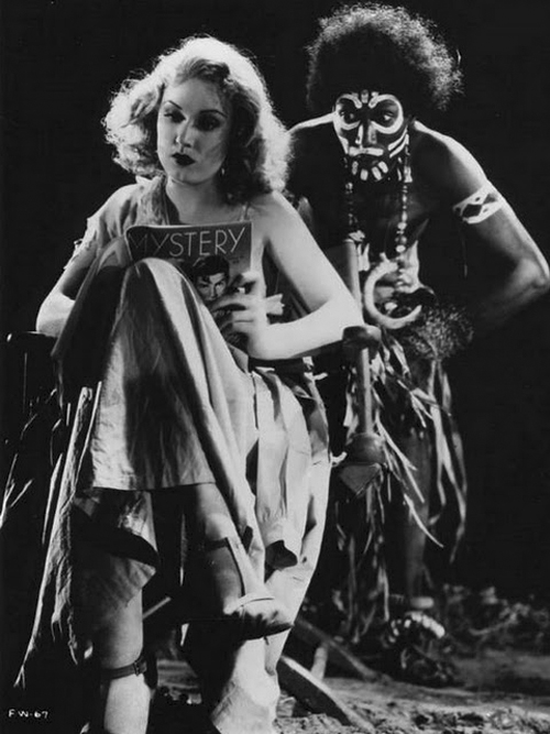 """Fay Wray and a """"native"""" in a promotional still for  King Kong."""