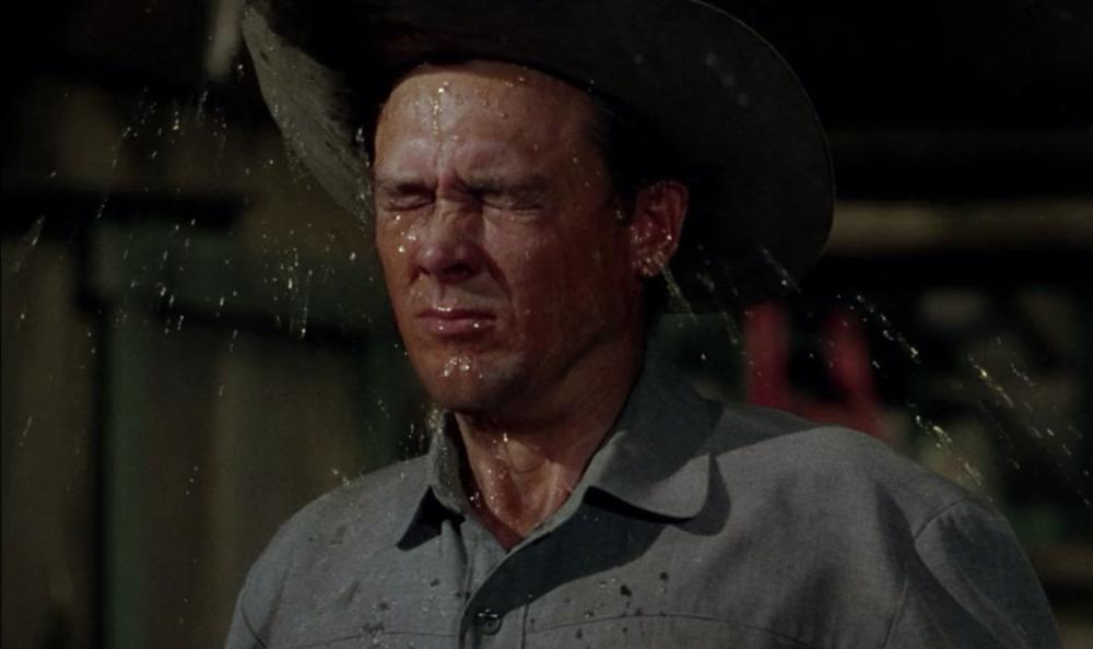 Chris Calloway (Ben Johnson) gets a taste of his own medicine in  Shane  (1953).
