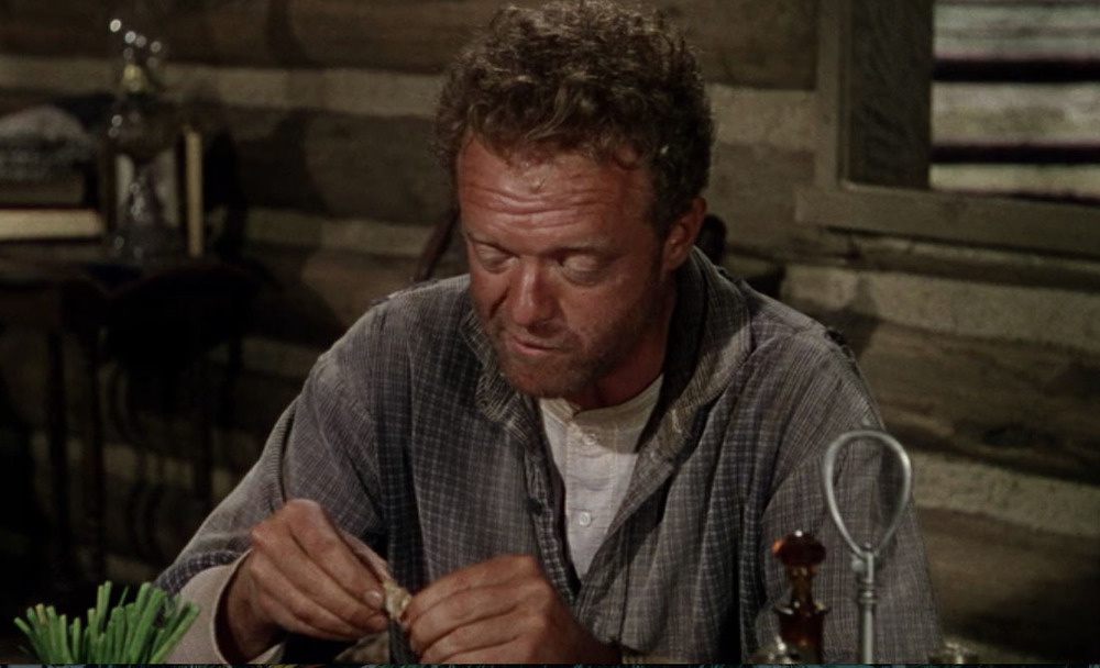 Joe Starrett (Van Heflin) at his dinner table in  Shane  (1953). Bottom left, a vase of green onions.