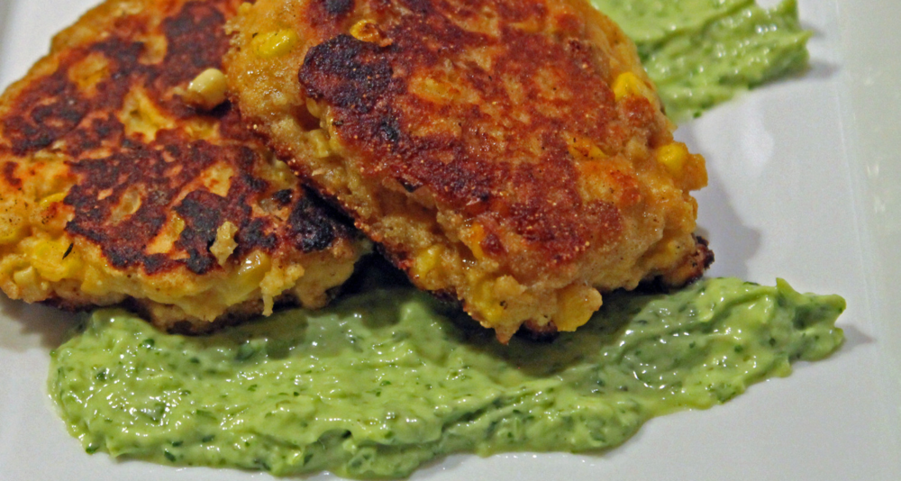 These savory johnnycakes made with fresh corn pair beautifully with our bright green citrusy avocado and green onion sauce.