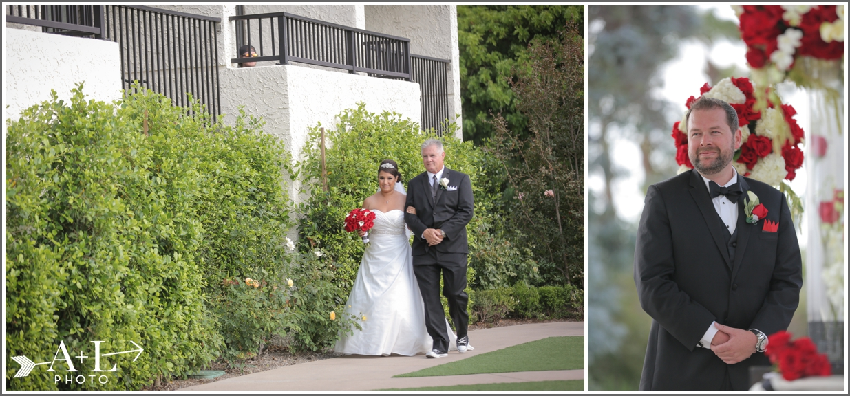 Newport Marriott Wedding, father of the bride, groom at alter, bride walking down aisle