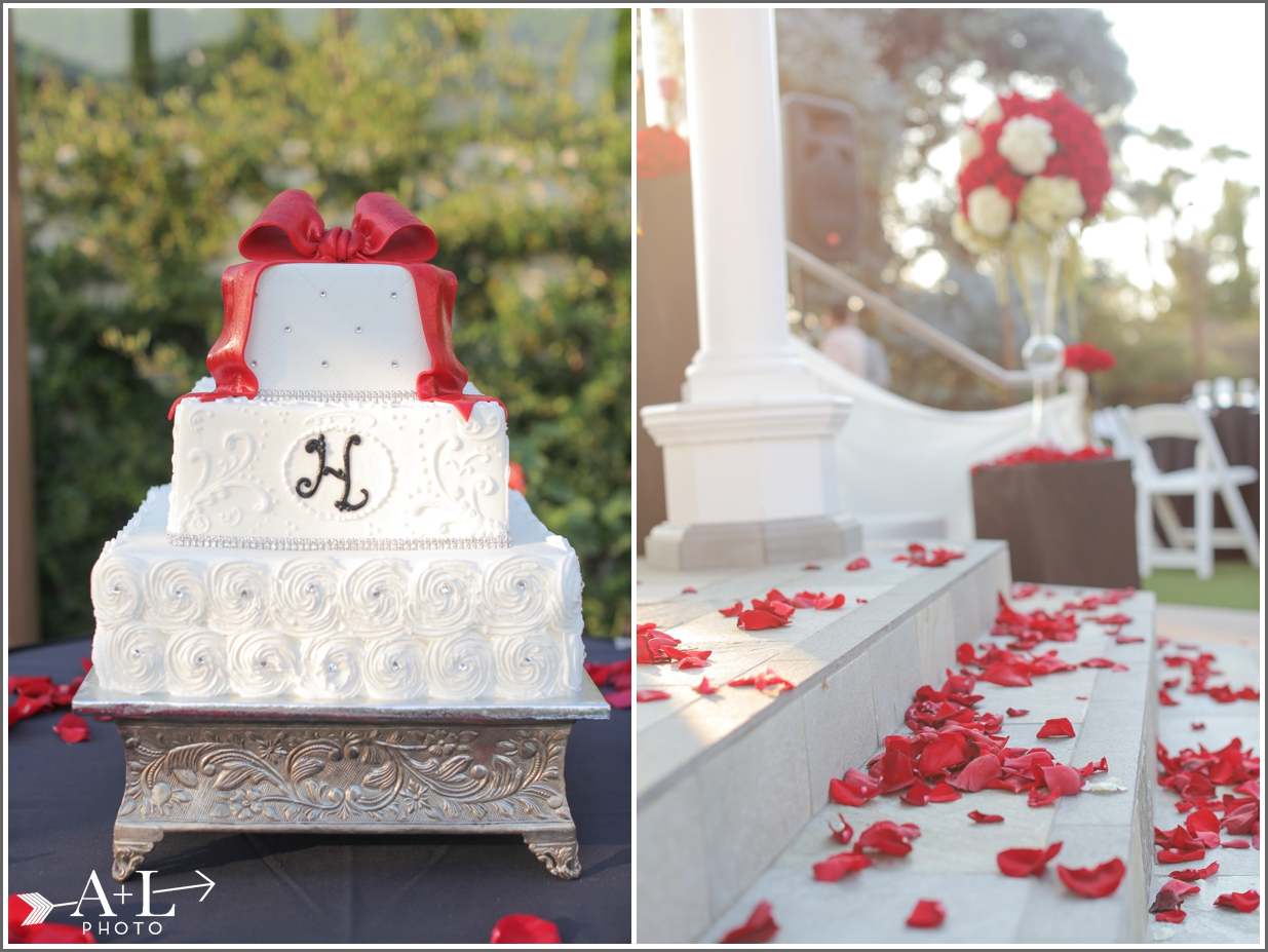Newport Marriott Wedding, wedding cake, rose petals