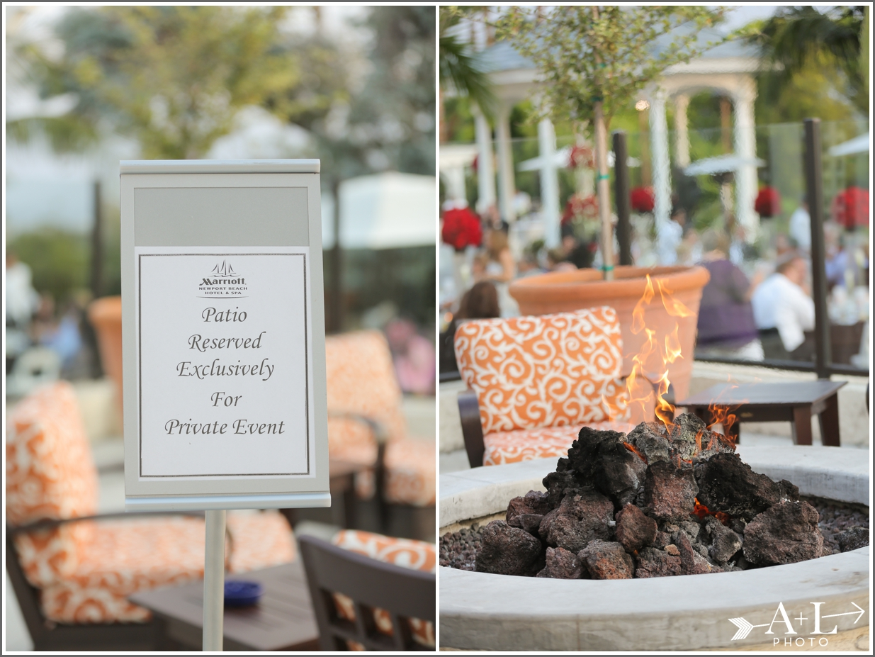 Newport Marriott Wedding, Fire pit