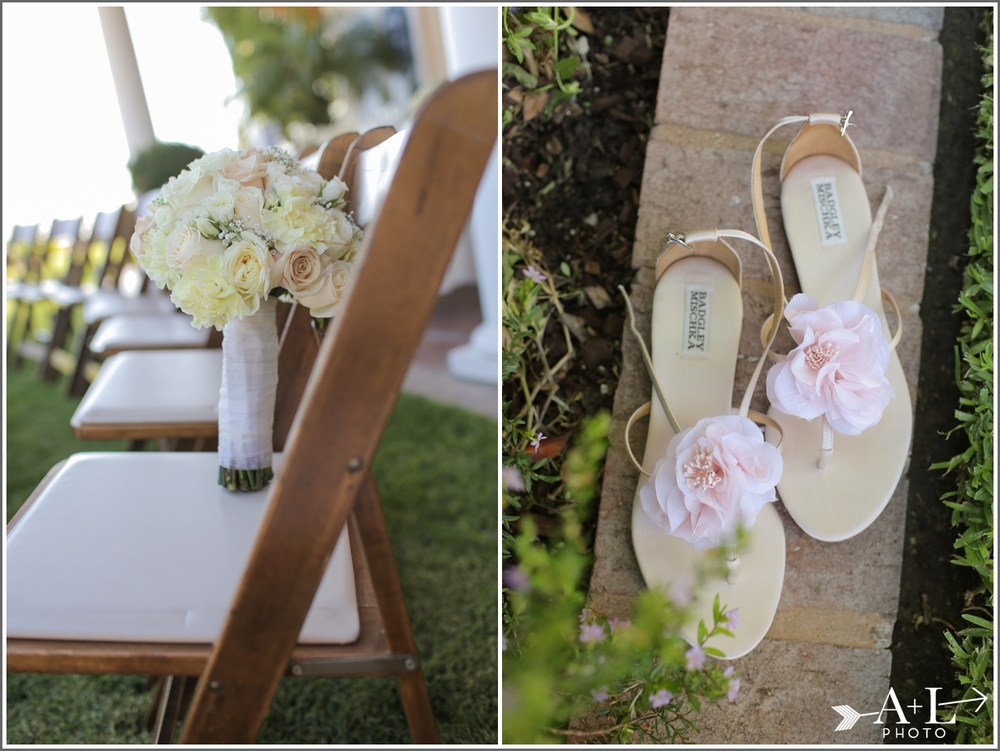 neutral wedding colors bouquet and shoes