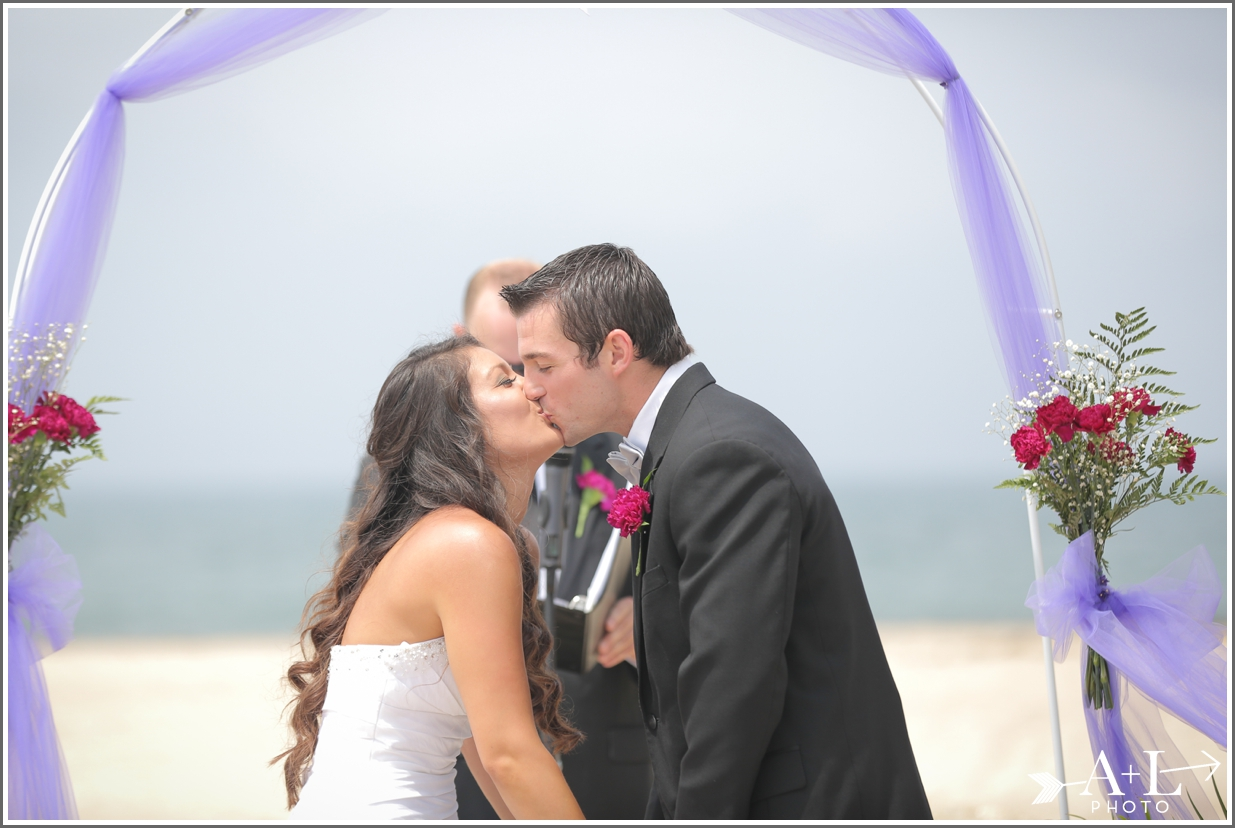 First Kiss Redondo Beach Wedding