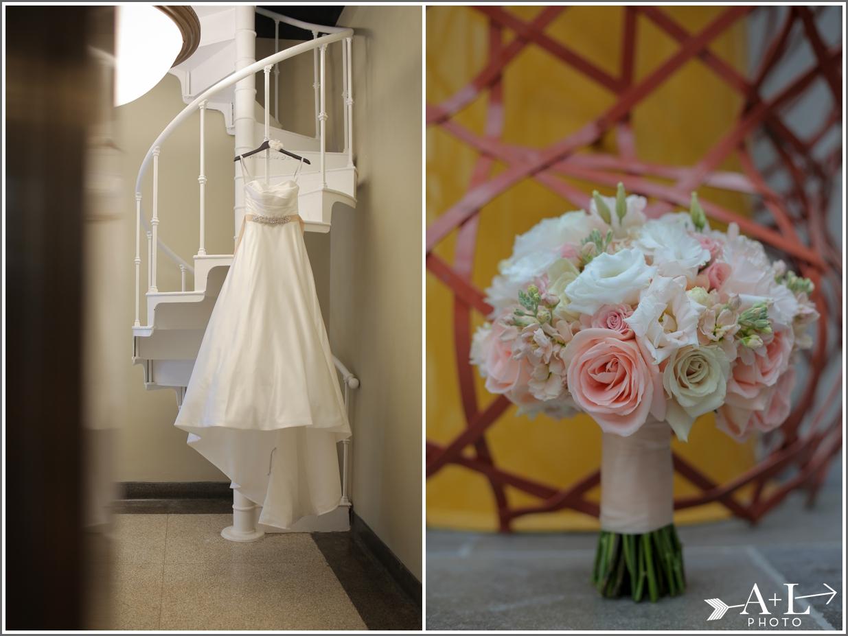 Wedding Dress, Pink Bouquet