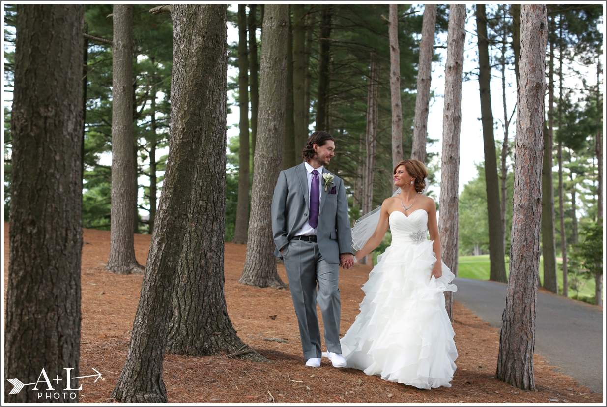 Country Club Wedding, Bride and Groom in trees