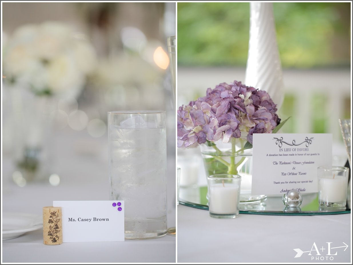 Country Club Wedding, Purple wedding details