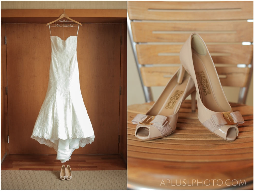 Wedding Dress and Nude Shoes