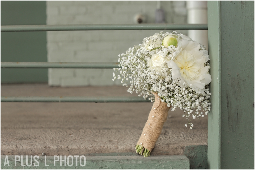 White Roses and Babies Breath Wedding Bouquet | Rustic Wedding Details | Via Vecchia Winery Wedding | A Plus L Photo | Portland, OR Wedding Photographers