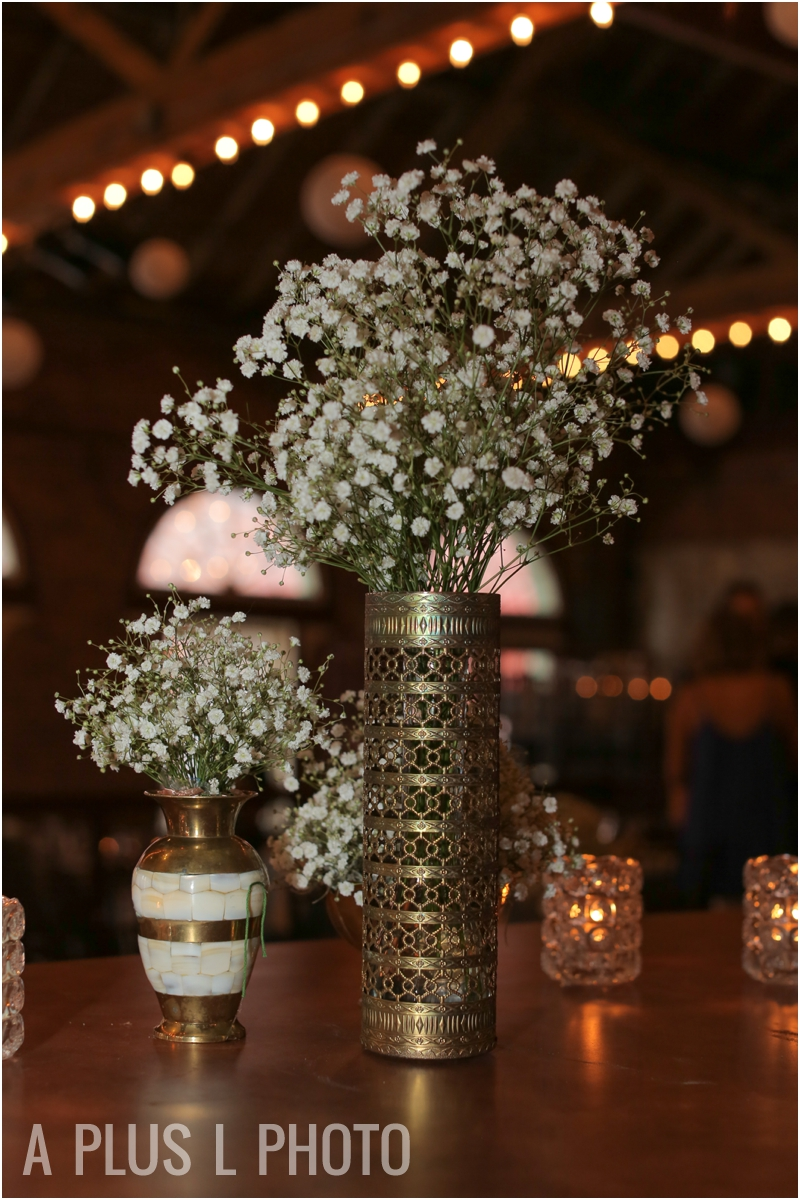 Vintage Gold Vase and Baby's Breath | Rustic Wedding Details | Via Vecchia Winery Wedding | A Plus L Photo | Portland, OR Wedding Photographers