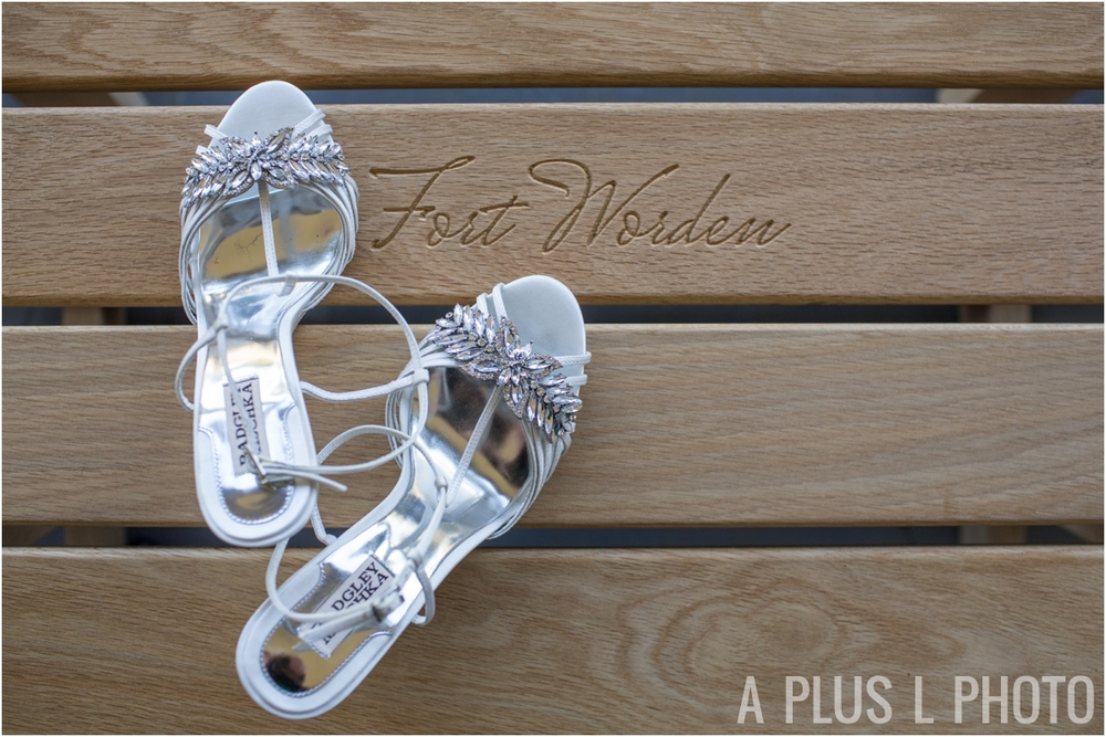 Badgley Mischka Wedding Shoes - Fort Worden Wedding - A Plus L Photo