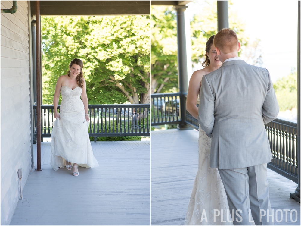 Wedding First Look - Fort Worden Wedding - A Plus L Photo