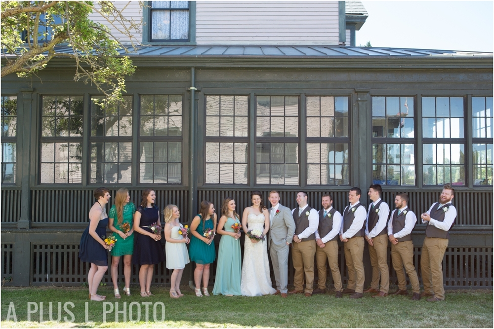 Blue and Green Bridesmaid Dresses - Fort Worden Wedding - A Plus L Photo