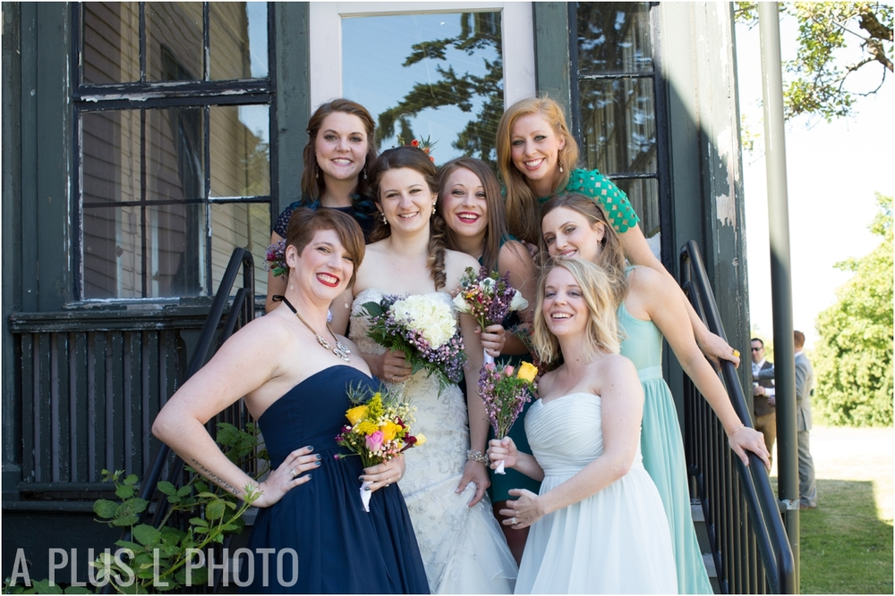 Peacock Colored Bridemaid Dresses - Fort Worden Wedding - A Plus L Photo