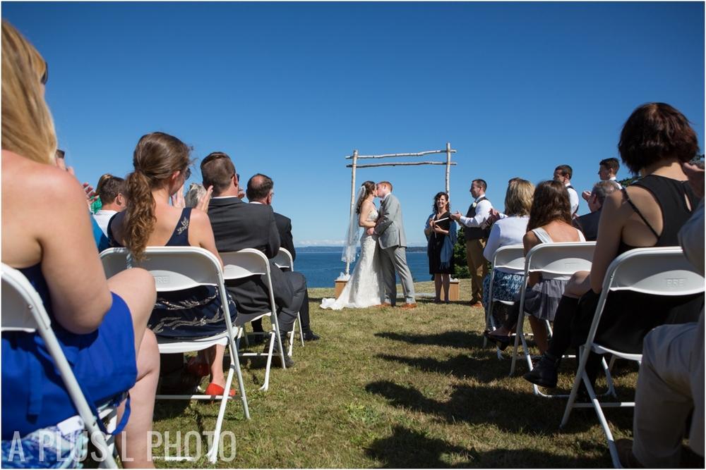Wedding First Kiss - Fort Worden Wedding - A Plus L Photo