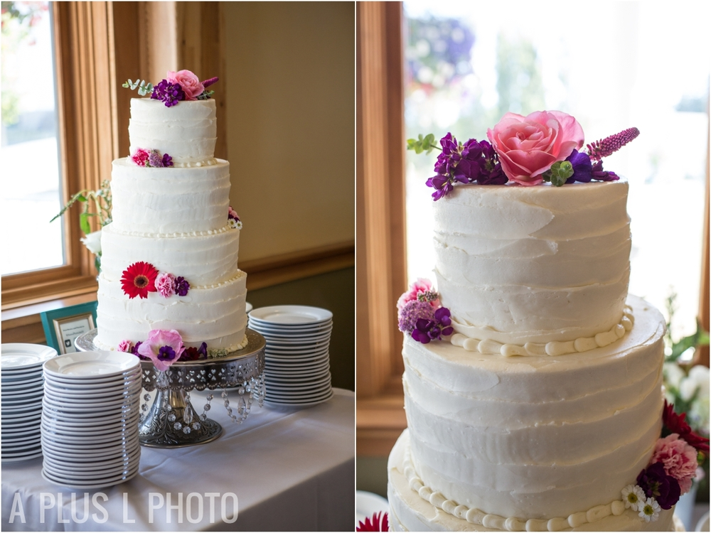 Colorful Floral Wedding Cake - Fort Worden Wedding - A Plus L Photo